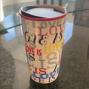 Starbucks ceramic travel mug. 12oz. LOVE IS LOVE